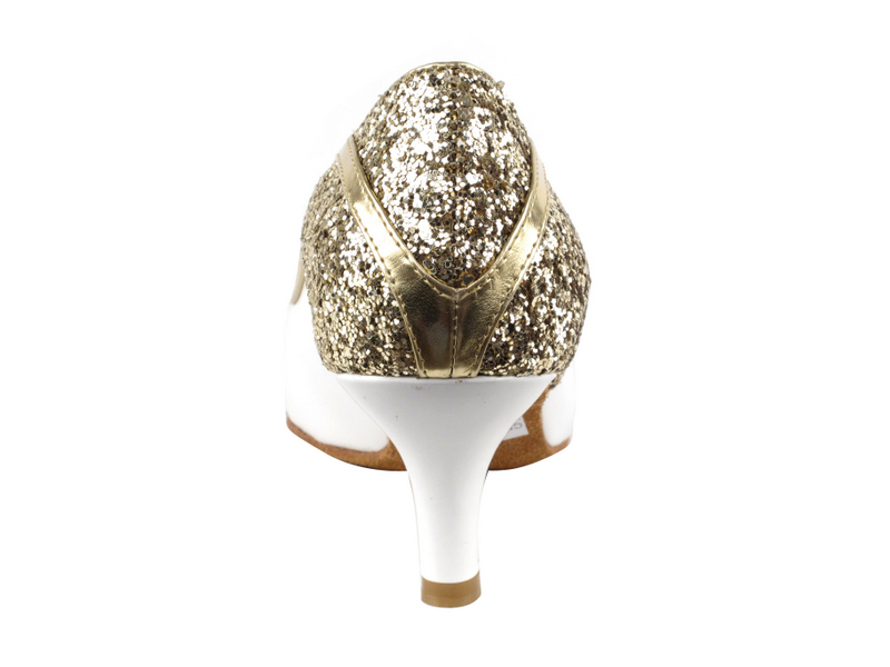 CD5503 Gold Sparkle & White Patent