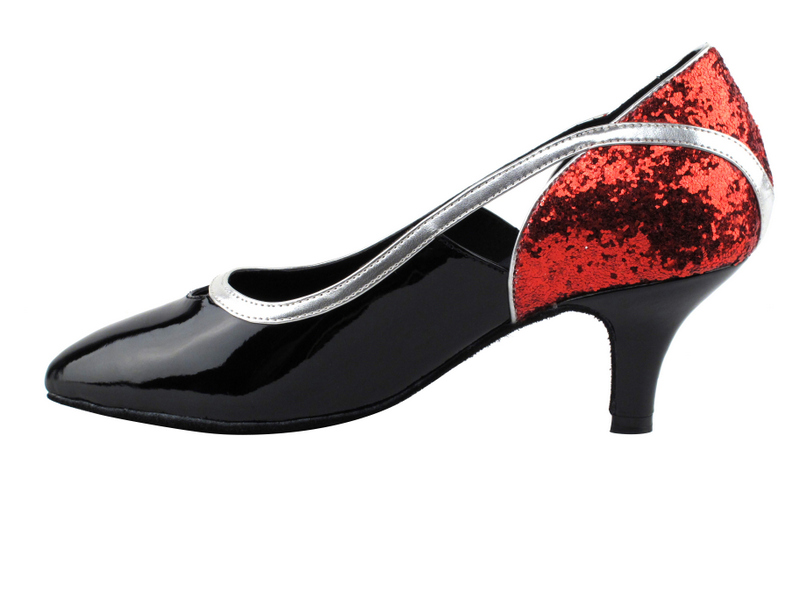 CD5503 Red Sparkle & Black Patent
