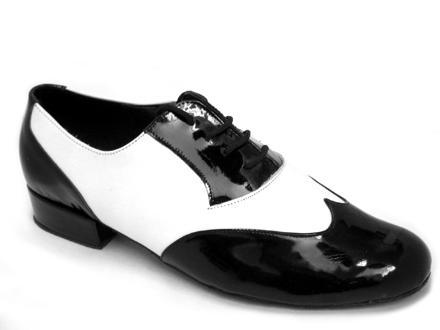 100101M Black Patent & White Leather