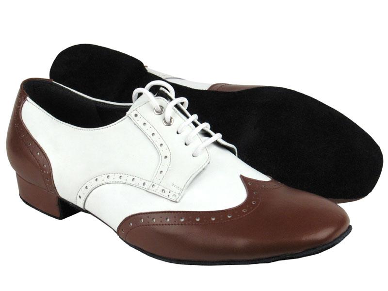 PP301 Dark Tan & White Leather